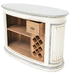 Zinc Top Bar w/ Walnut Wood & Wine Storage