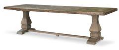 Long Dining Table in Reclaimed Teak & Column Legs