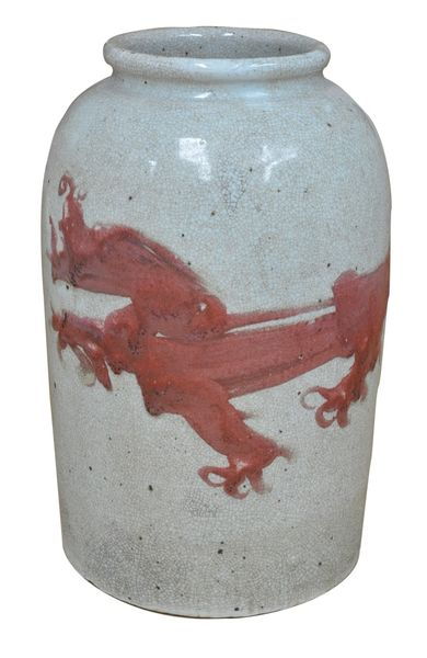 Red Dragon Vase Porcelain Ceramic w/ Crackling