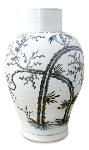 Baluster Vase Grey and White Large