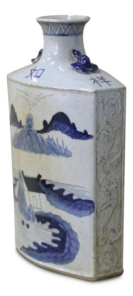Landscape Vase Blue and White Porcelain Ceramic