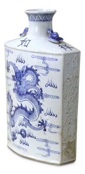 Dragon Vase Blue & White Porcelain Ceramic