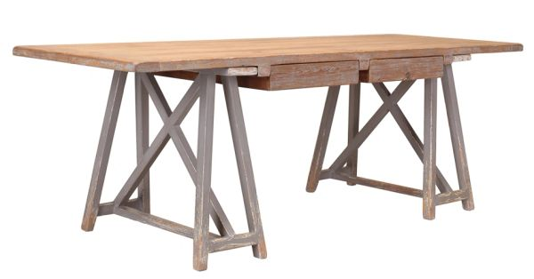 Sawbuck Desk Distressed Pine Saw Horse Rustic
