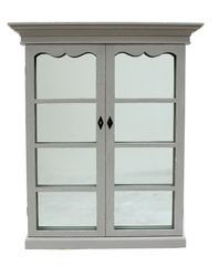 Mirror w/ French Doors Pine Wood in Grey