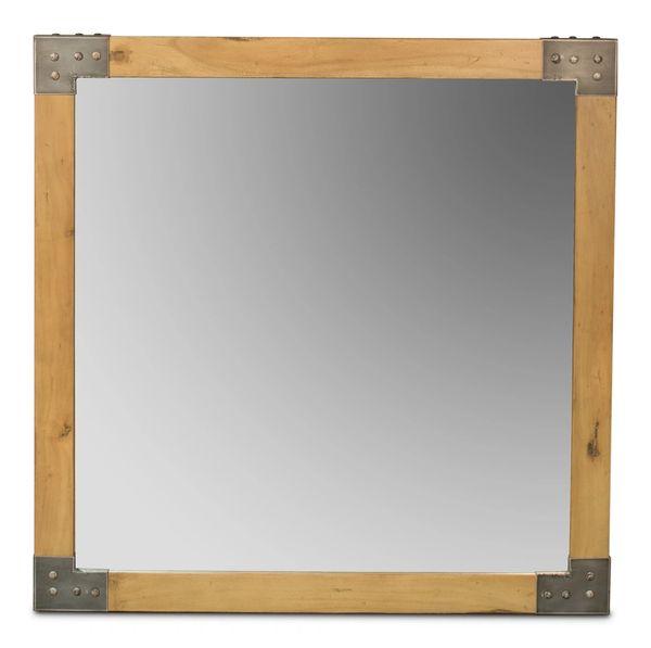 Armor Mirror Square w/ Walnut Wood & Iron