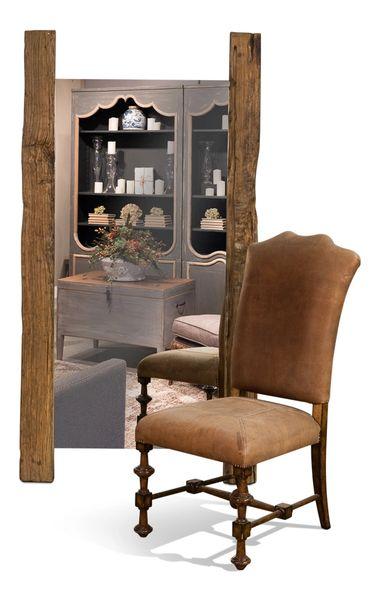 Floor Mirror w/ Reclaimed Wood Beam Rustic