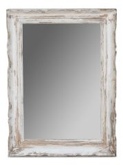 Rustic Mirror Handcarved Reclaimed Pine in White