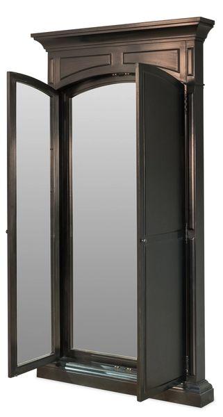 Mirror w/ Double Doors in Black Finish Shuttered