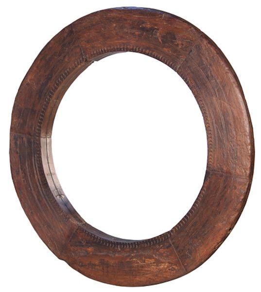Circle Mirror w/ Reclaimed Wood in Waxed Walnut