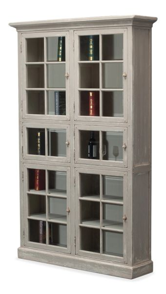 Pine Bookcase w/ Glass Doors in Antique Gray