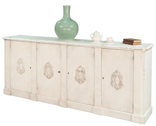 Italian Sideboard in White Pine w/ Unique Carvings
