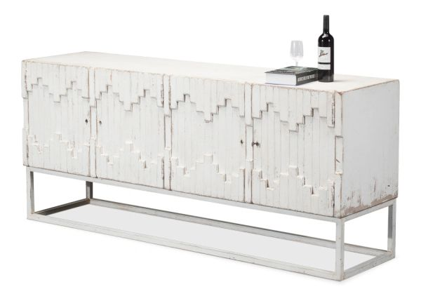 Aztec Cabinet Reclaimed Pine Antiqued White Wash