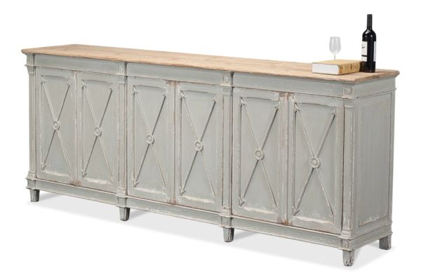 Arrow Cabinet Antiqued Grey Pine with Natural Top