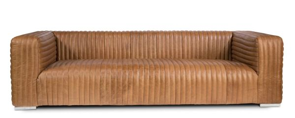 Modern Sofa Couch Channel Leather