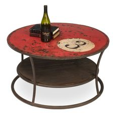 Pool Ball Coffee Table Iron Metal Red