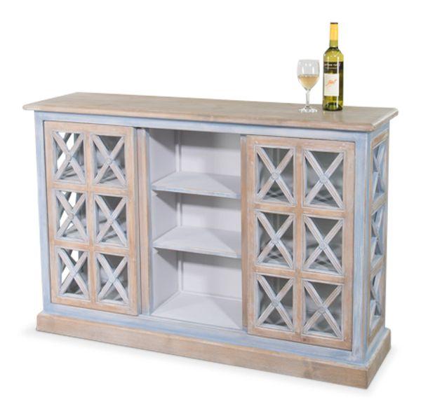 Blue Cabinet W/ Sliding Door Pine Grey Wash