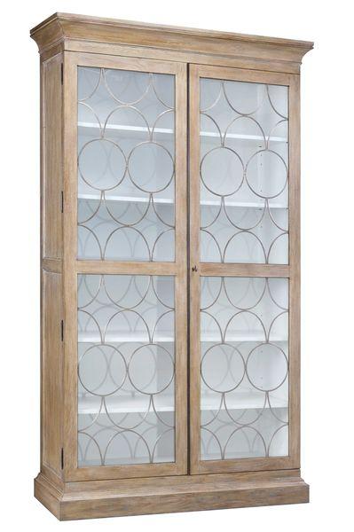 Parada Display Cabinet Oak Iron Grill Storage