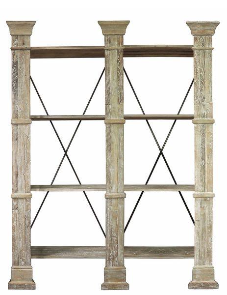 Wall Shelf Elm Finish Wood Antiqued Industrial