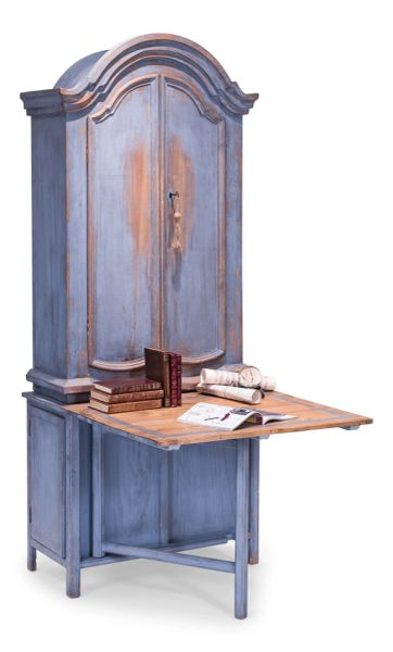 Blue Secretary Writing Cabinet Desk Pine Elm