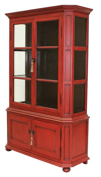 Wine Cabinet Red Pine Glass Front Black Interior