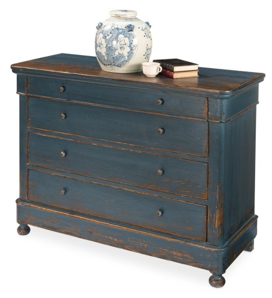 Cabinet Chest Blue Pine and Iron Antiqued