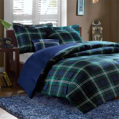Comforter Set Blackwatch Plaid Navy Green Full/Queen Size