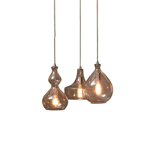 Three Piece Chandelier Pendant Modern Industrial Glass