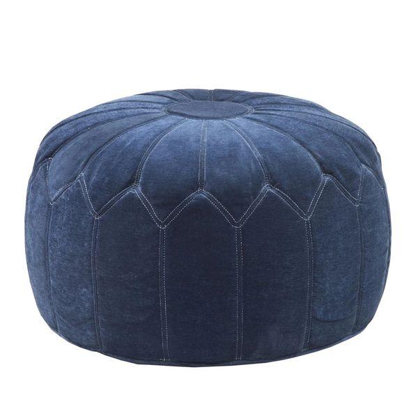 Pouf Ottoman Blue Velveteen Seat Chair