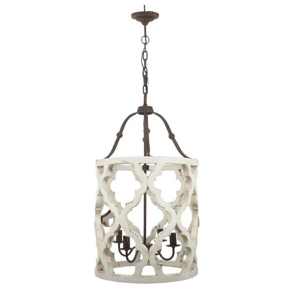Moroccan Chandelier Wood 4 Light White Wash Transitional