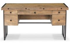 Industrial Desk Recycled Pine Black Iron Rustic