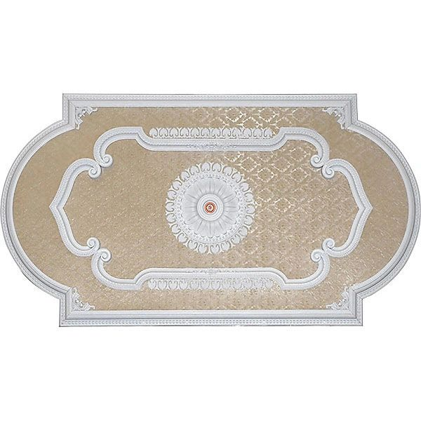 Ceiling Medallion Hand Finished White Cream Fleur De Lis