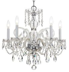 Crystal Chandelier Chrome Traditional 5 Light Crystorama
