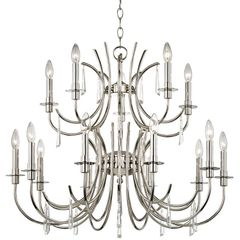 Chandelier Transitional Nickel Silver Crystorama