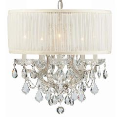 Crystorama Chandelier Drum Shade Swarovski Crystals in Chrome