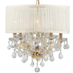 Crystorama Chandelier Drum Shade Swarovski Crystals in Gold