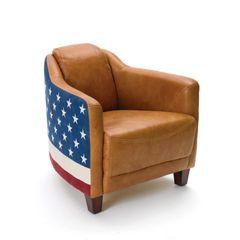 American Flag Club Chair Leather Patriotic