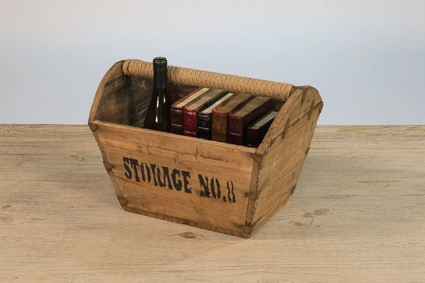 Vintage Wooden Basket Unique Storage