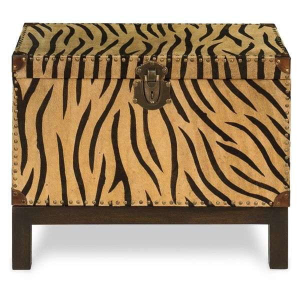 Tiger Print Box on Stand Chest