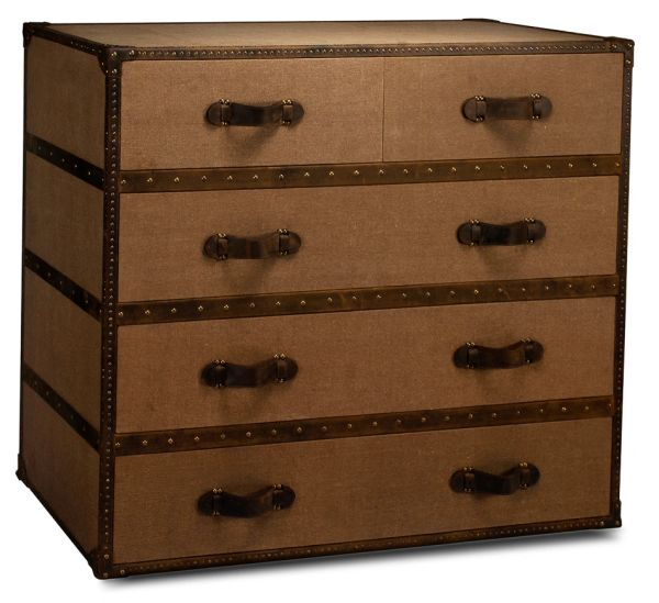 Safari Trunk Tan Canvas Chest of Drawers