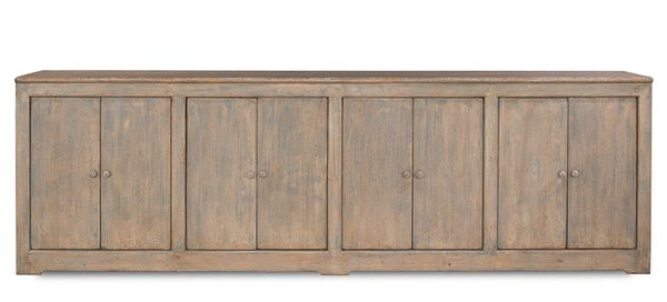 """Long Cabinet Storage 122"""" Distressed"""