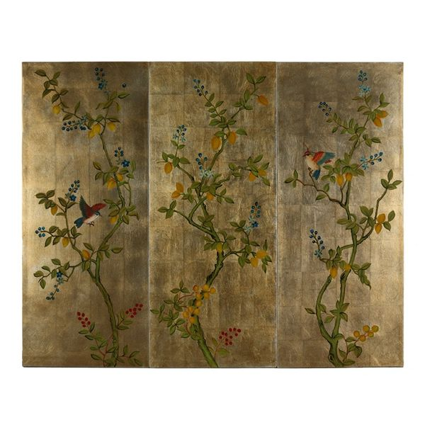 Wall Panels Hand-Painted Floral & Bird Designs