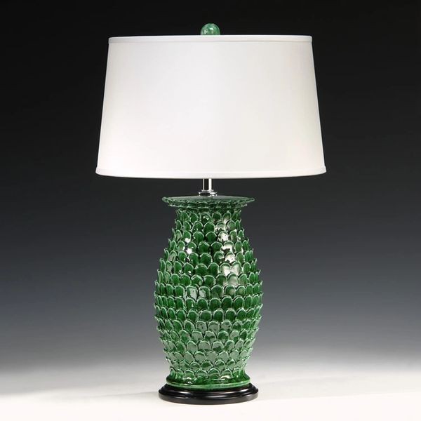 Green Ceramic Lamp Scale Detail Hand-Painted