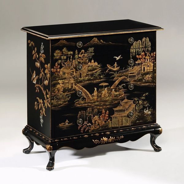 Chinoiserie Chest Hand-painted Antiqued