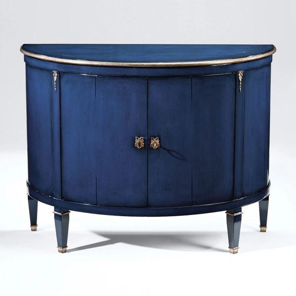 Lacquered Blue Credenza Demilune Brass Hardware