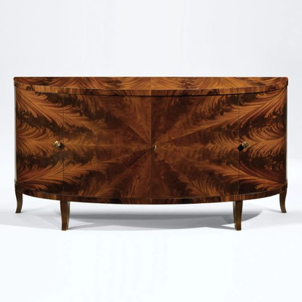Demilune Credenza Mahogany and Antiqued Brass Hardware