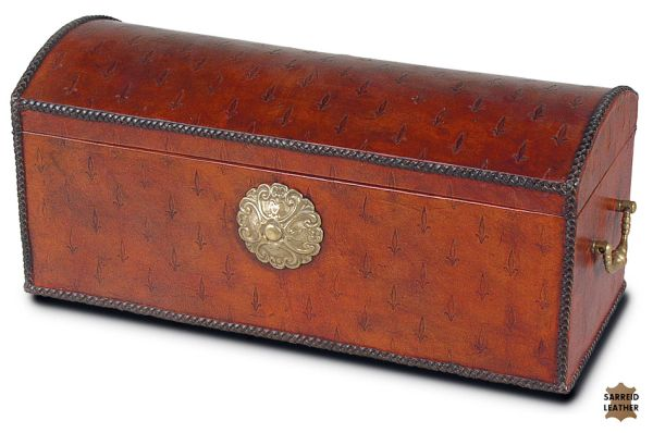 Embossed Leather Box Wood Brass Accent