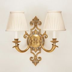 Solid Brass Sconce with Pleated Shades