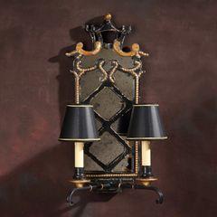 Pagoda Sconce Carved Wood Antiqued Black