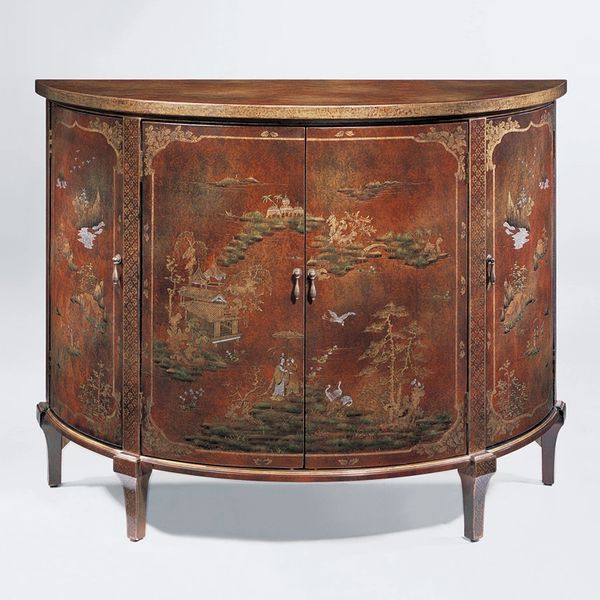 Demilune Cabinet Side Chest with Hand-painted Chinoiserie