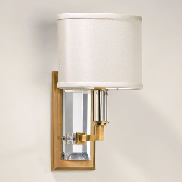 Brass & Crystal Sconce Art Deco Lighting Ships Free